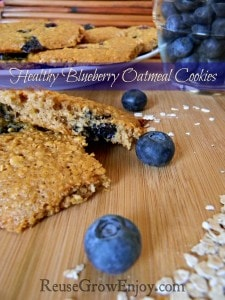 Wood cutting board with blueberry oatmeal cooking cut in half. Fresh blueberries around and plate of cookies in background