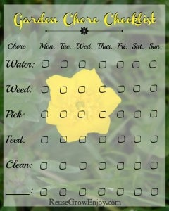Printable Garden Chore Checklist That Is FREE!