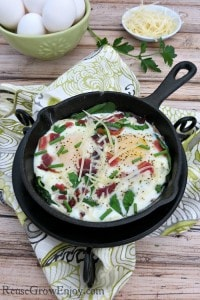 Baked Egg Recipe with Fresh Herbs & Bacon