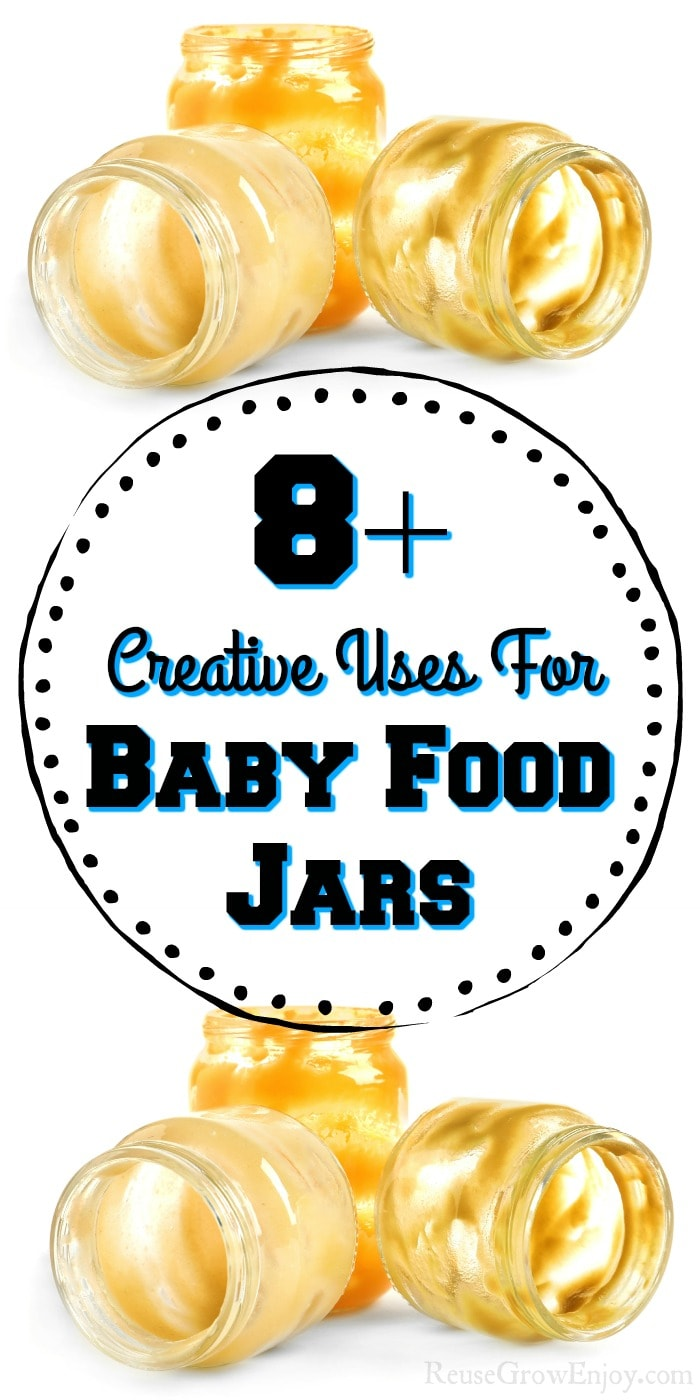 Baby food jars top and bottom with text overlay in the middle