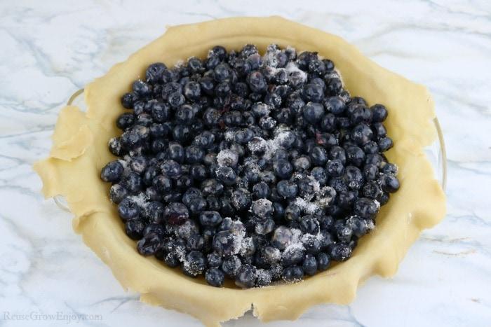 Add blueberry mix to crust