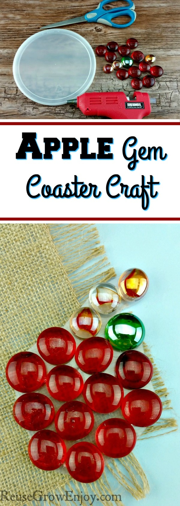 Looking for an easy apple craft you can do with the kids? Check out this easy Apple Gem Coaster Craft!