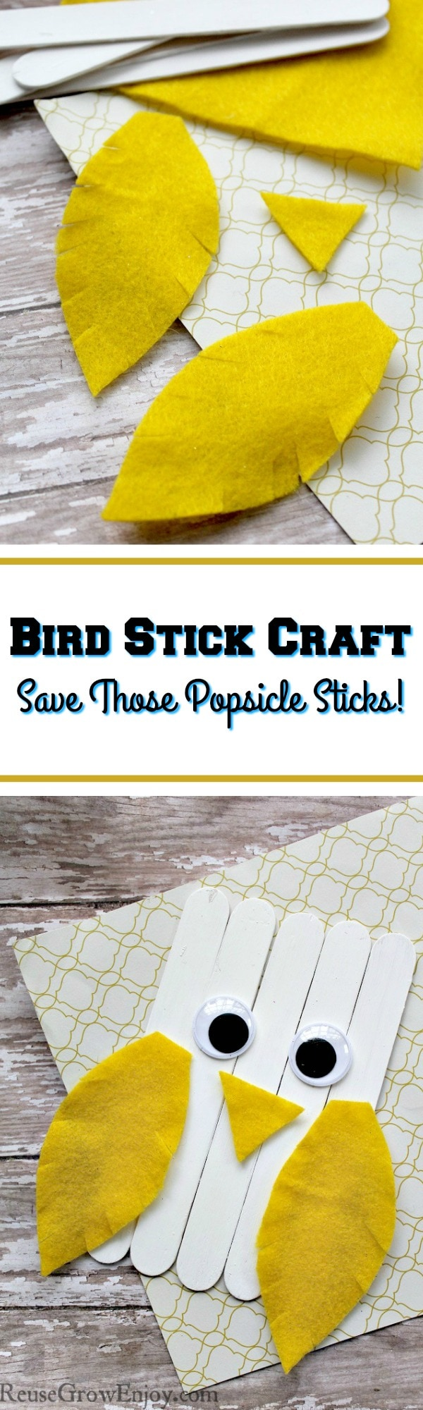 Check out this easy cute craft stick craft you can do with the kids. You can even reuse / upcycle popsicle sticks to make it!
