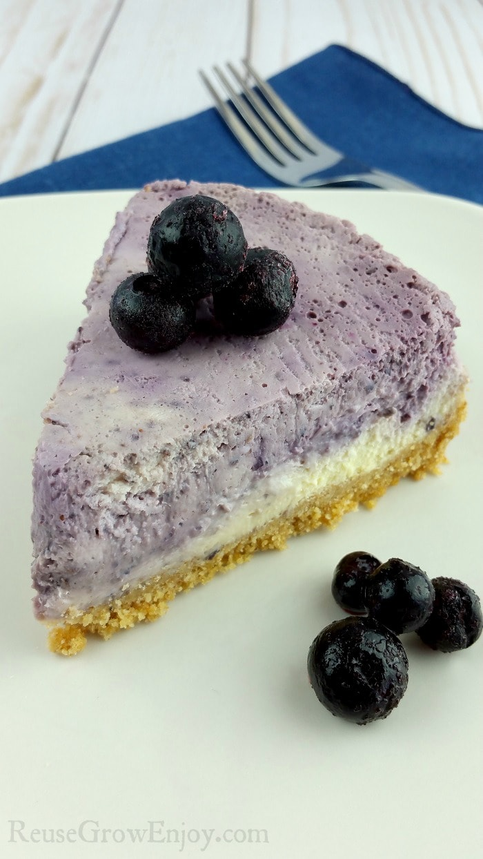 Slice of Marble Blueberry Instant Pot Cheesecake on a white plate with fresh blueberries on top and to the side.