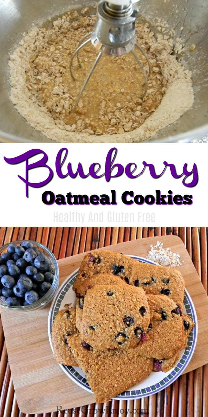 Cookies being mixed at top. Plate of baked cookies at bottom with text overlay in middle that says Blueberry Oatmeal Cookies