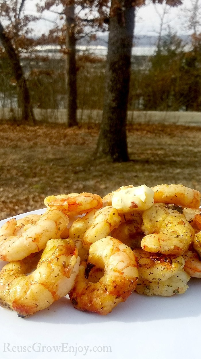 Campfire shrimp on white plate with woods and lake in background.