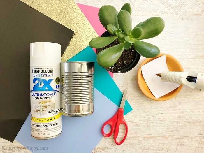 Picture of supplies needed to make this upcycled can planter. Spray paint, plant, tin can, scissors, hot glue gun and paper.