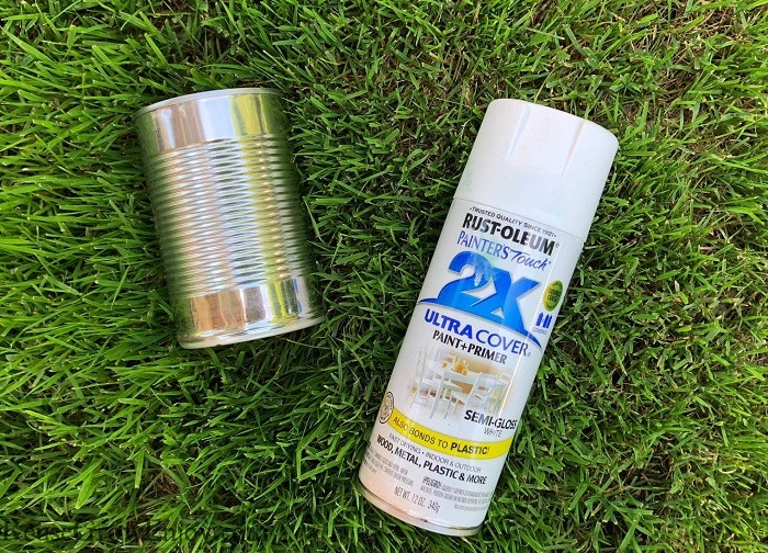 Tin can and white spray paint laying on grass outside.