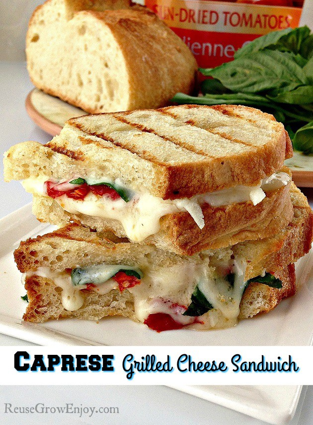 Looking for something different to try for lunch or even dinner? Check out this easy and super tasty Caprese Grilled Cheese Sandwich!