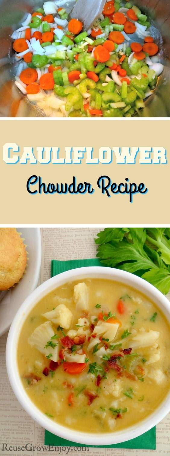 If you are looking for a new recipe to try that will warm you up on a cold day, I have one for you. Check out this recipe for cauliflower chowder.