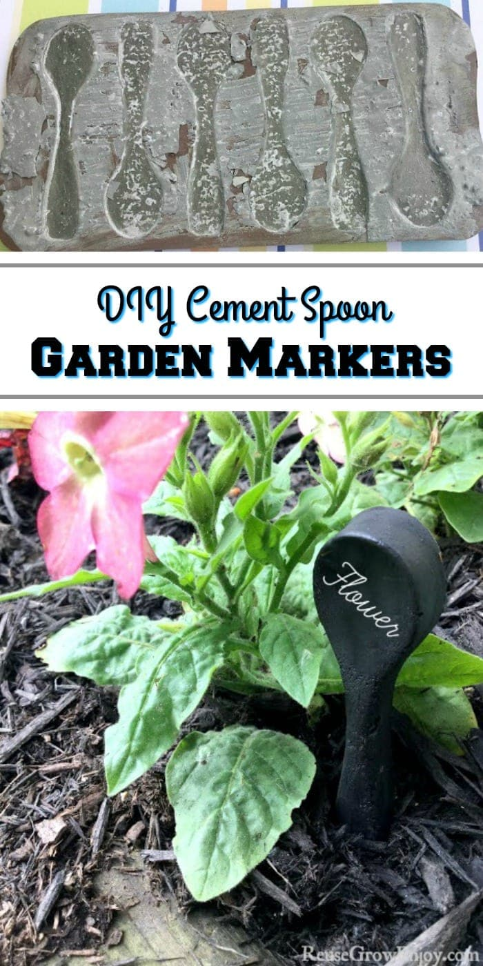 Making your own DIY cement spoon garden markers is easy to do. Not only are they cute, they are handy for marking flowers, herbs, and many other plants!