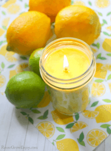 Yellow citrus soy candle with lemons and limes in background.