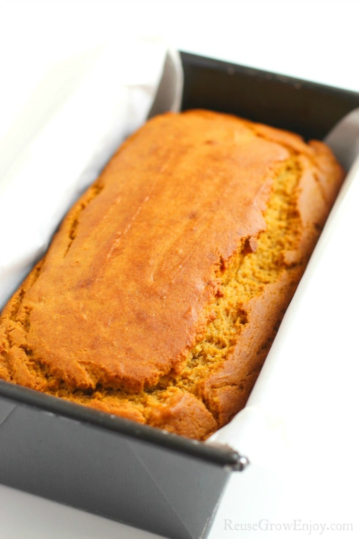 Fresh baked bread in loaf pan