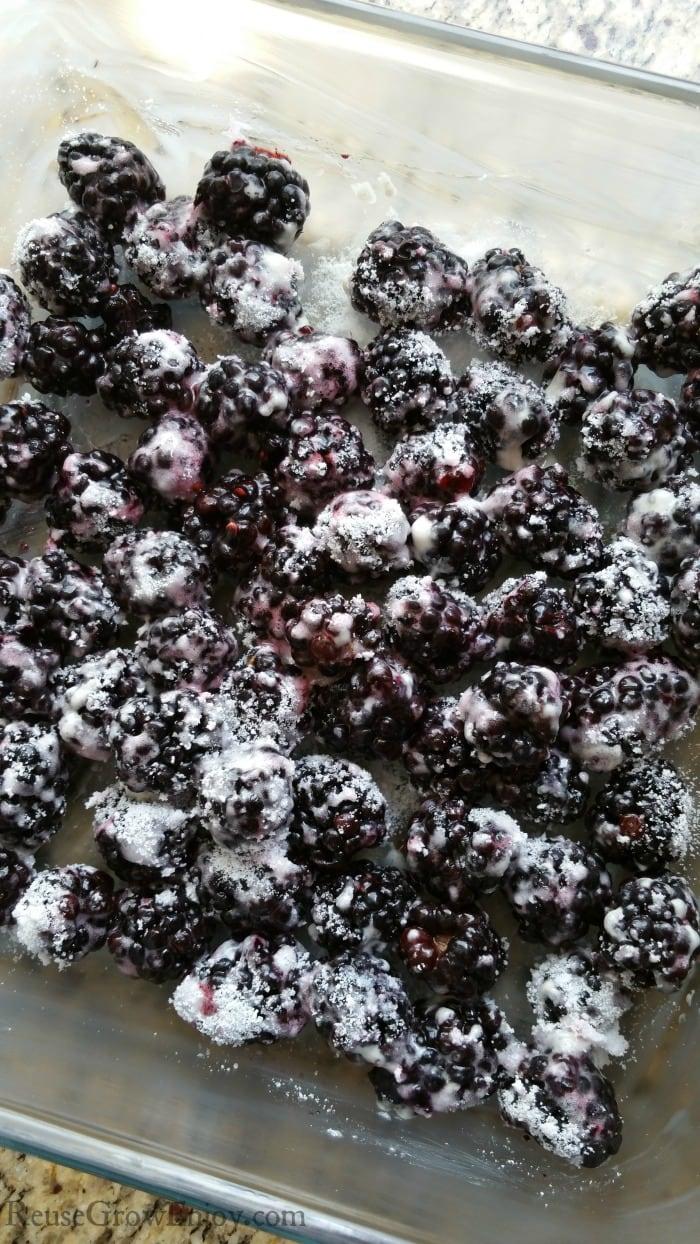 Cover berries in sugar