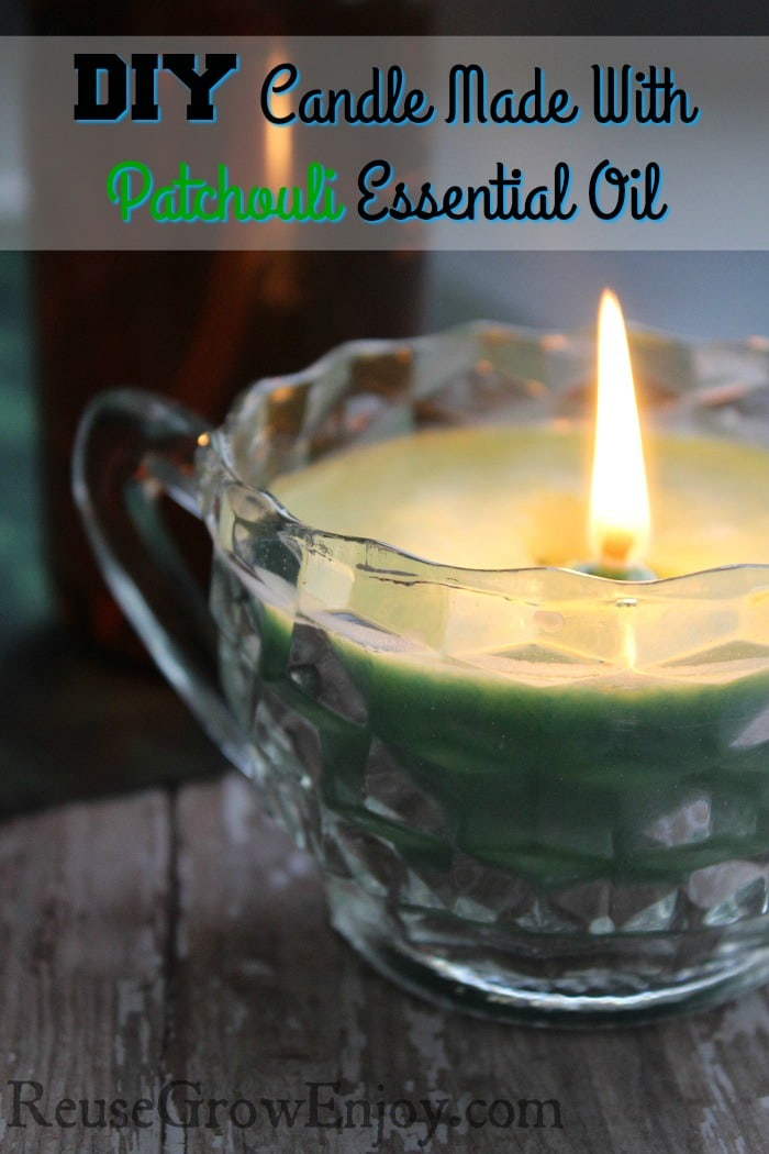 DIY Candle Made With Patchouli Essential Oil. If you are looking to get into candle making, check out this super easy DIY! You can change it up to make it the way you want!