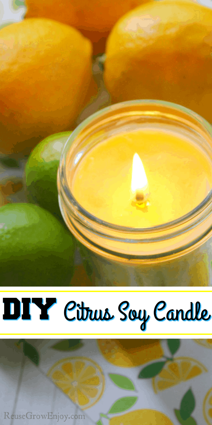 Yellow citrus candle with lemons and limes in the background. Text overlay in the middle.