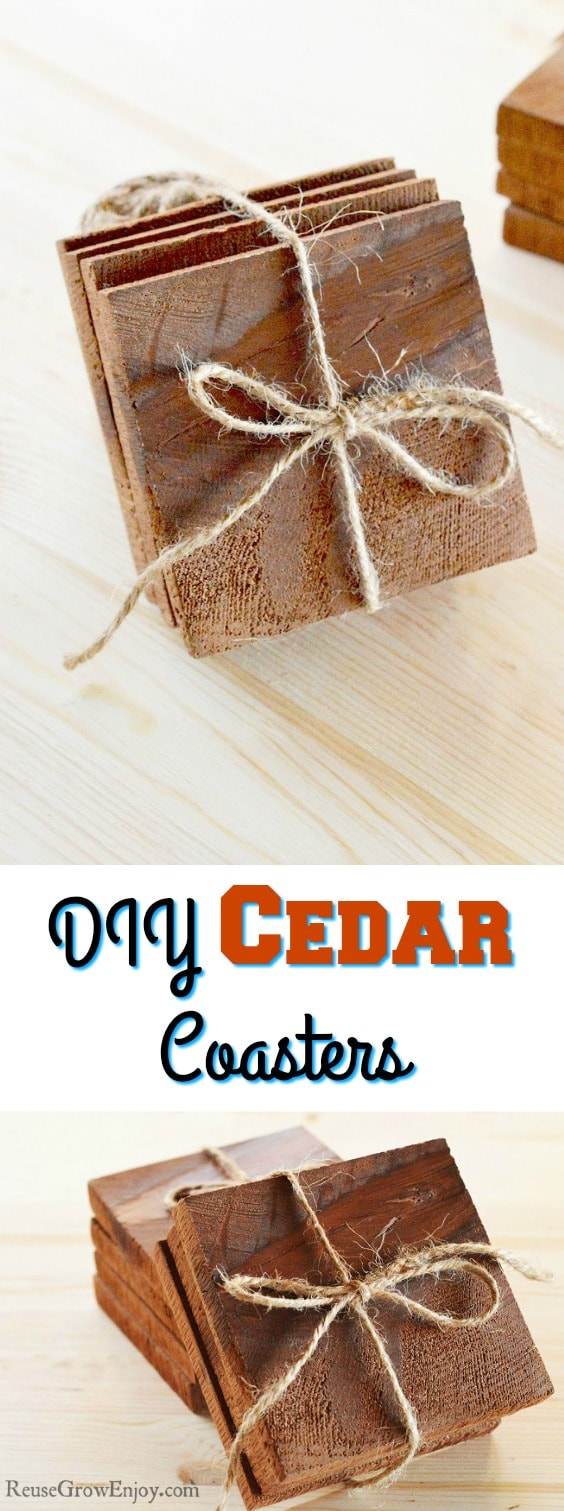 Looking for a easy DIY project? Check out these DIY coasters that is made from real cedar!