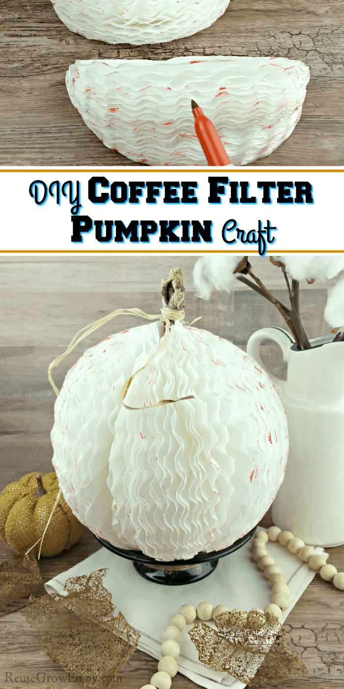 Coffee filter pumpkin at the bottom and it being made at the to. Text overly in the middle.