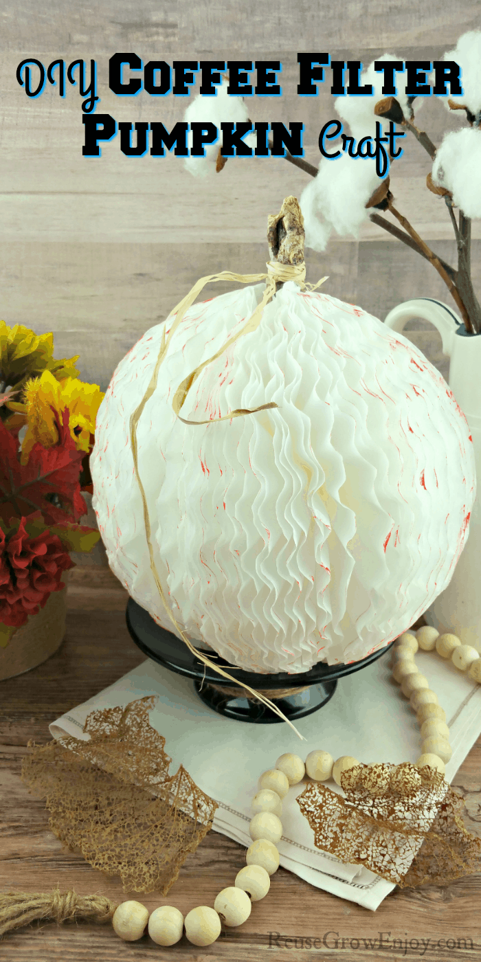 DIY Coffee Filter Pumpkin Craft with text overlay