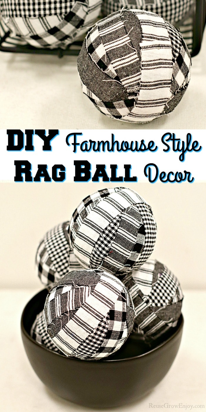 "Stacked rag balls in bowl at bottom single ball at top with text overlay in the middle that says ""DIY Farmhouse Style Rag Ball Decor"""