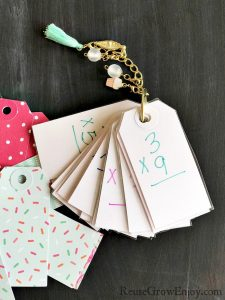 Math DIY Flash Cards Made From Hang Tags