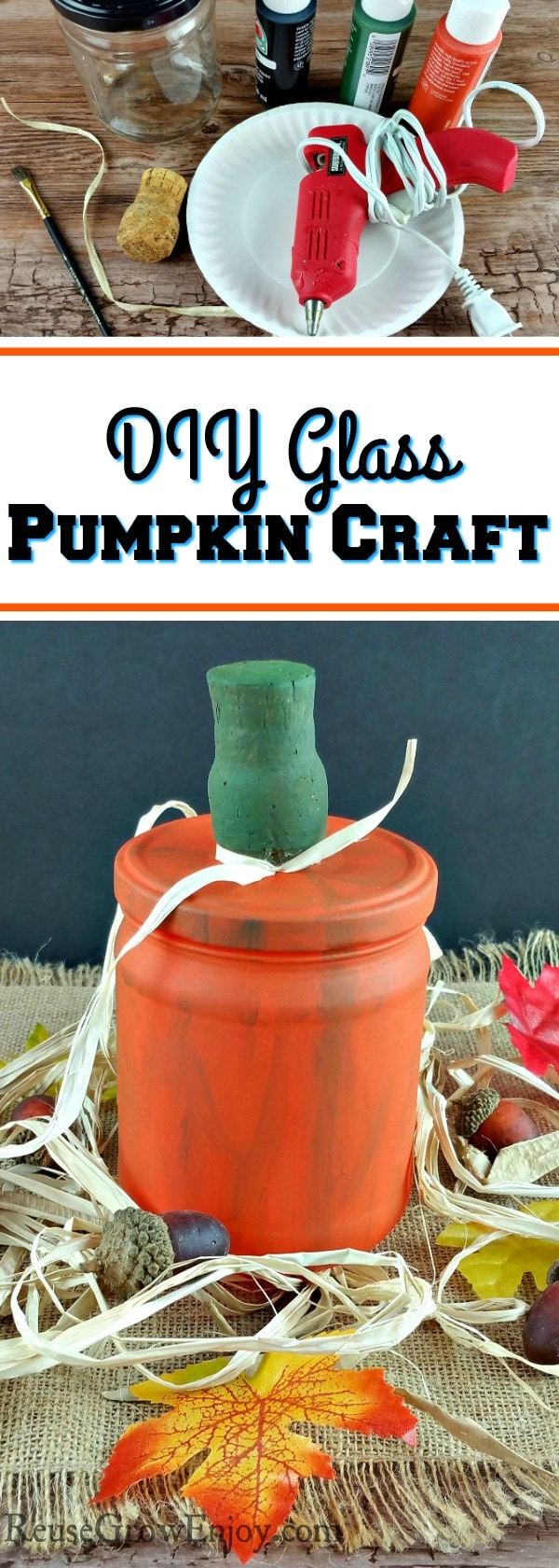 If you are looking for ways to add a touch of fall to the house without spending a lot, this pumpkin craft is for you. I am going to show you how to make a DIY glass pumpkin craft made from upcycled supplies.
