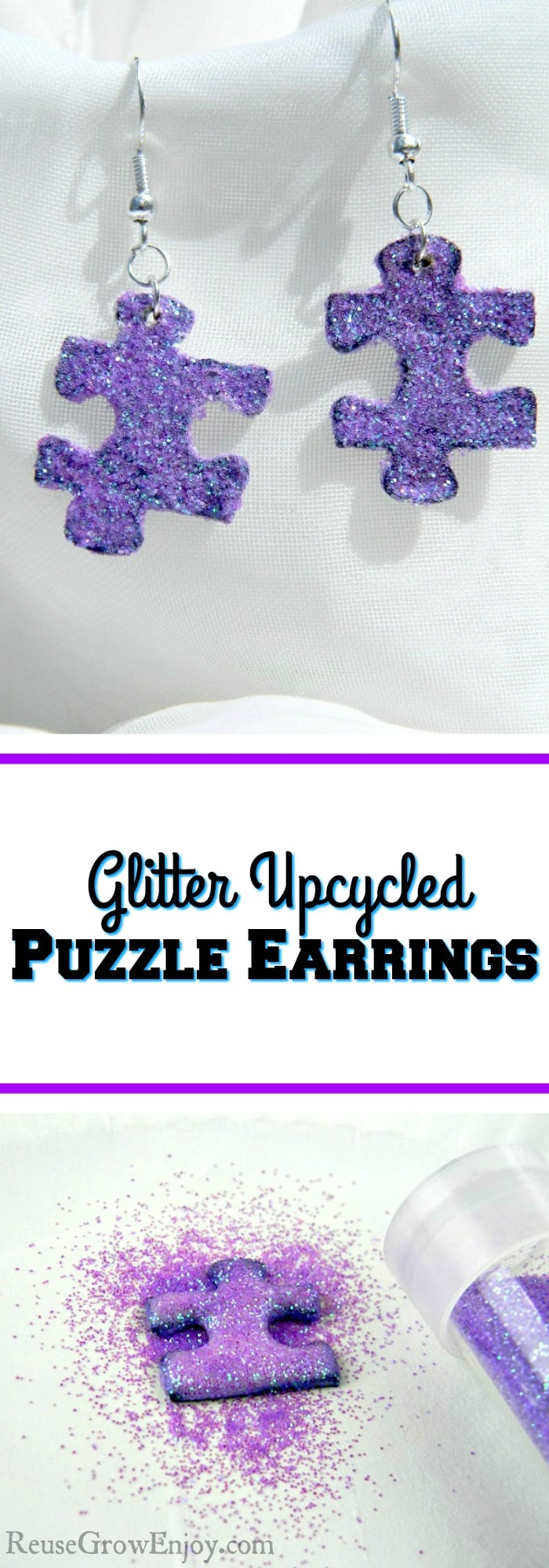There are lots of different ways you can reuse puzzle pieces. One way that I am going to show you is to make glitter upcycled puzzle piece earrings.