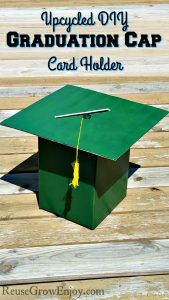 Graduation party coming up? Check out this upcycled DIY Graduation Cap Card Holder! Plus you can make it in your own school colors!