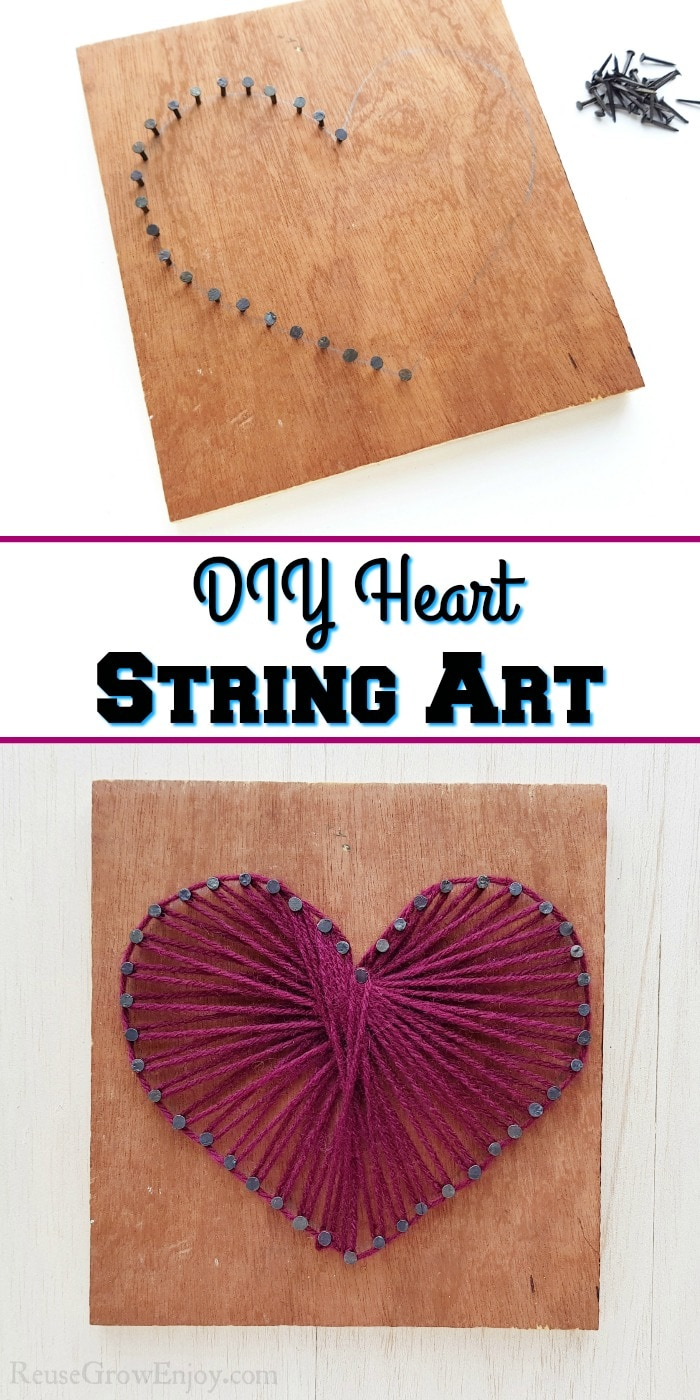 Nails hammered to board at top. String heart at bottom. Text overlay in the middle that says DIY Heart String Art