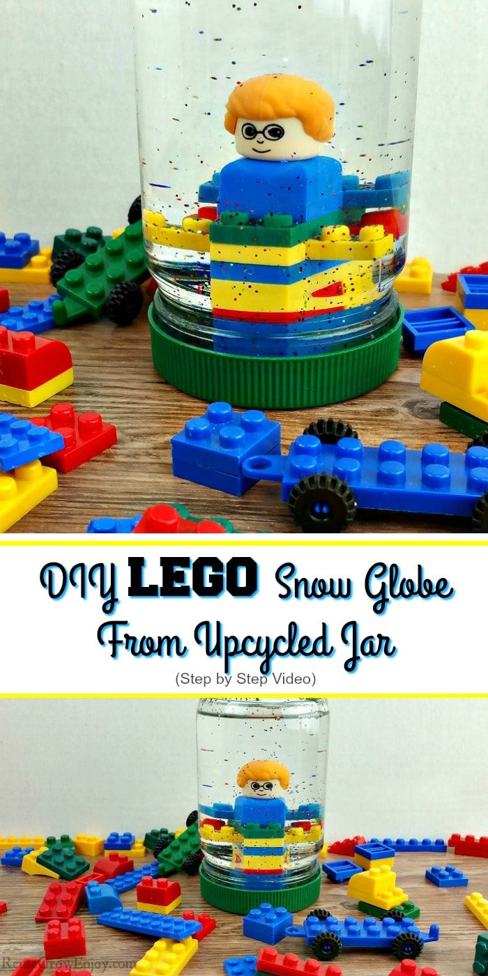"Small LEGOs all around with a upcycled mayo jar turned LEGO snow globe in the center that has LEGOs inside with glitter another angel of the same at the bottom. Text overlay in middle that says ""DIY Lego Snow Globe From Upcycled Jar""."