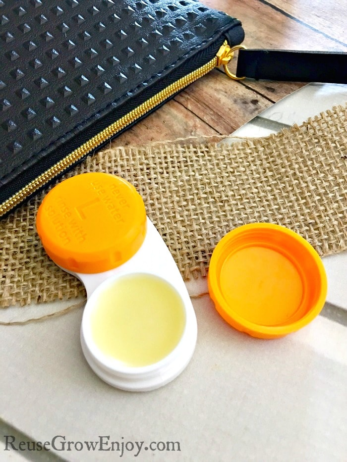 One great way to reuse extra contact cases is for lip balm. You can make this easy DIY lip balm that is orange cream. Works great for gifts!