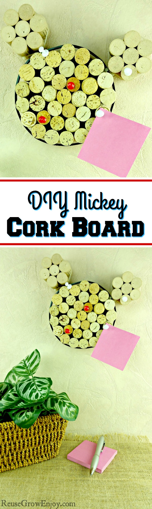 If you like Mickey and have a bunch of corks kicking around, this is the project for you! I will show you how to make this easy DIY Mickey cork board!