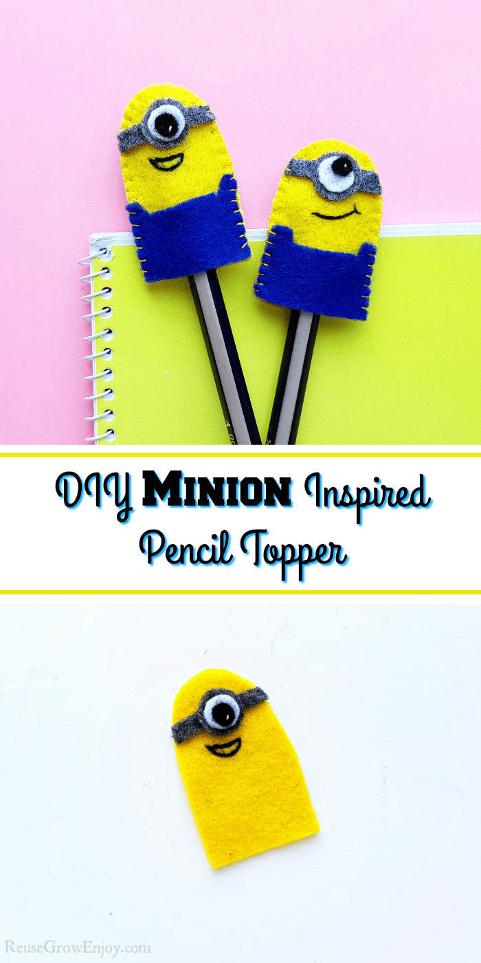 Top is two made minion pencil toppers. Bottom is one that is half made. Text overlay in middle.