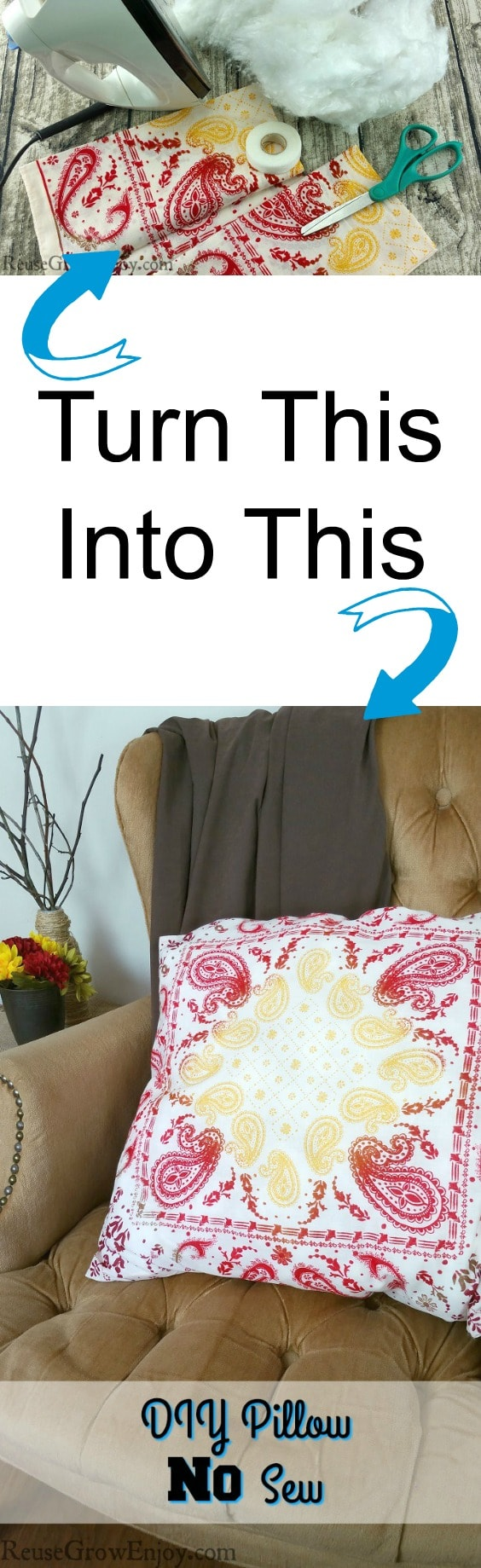 DIY Pillow No Sew