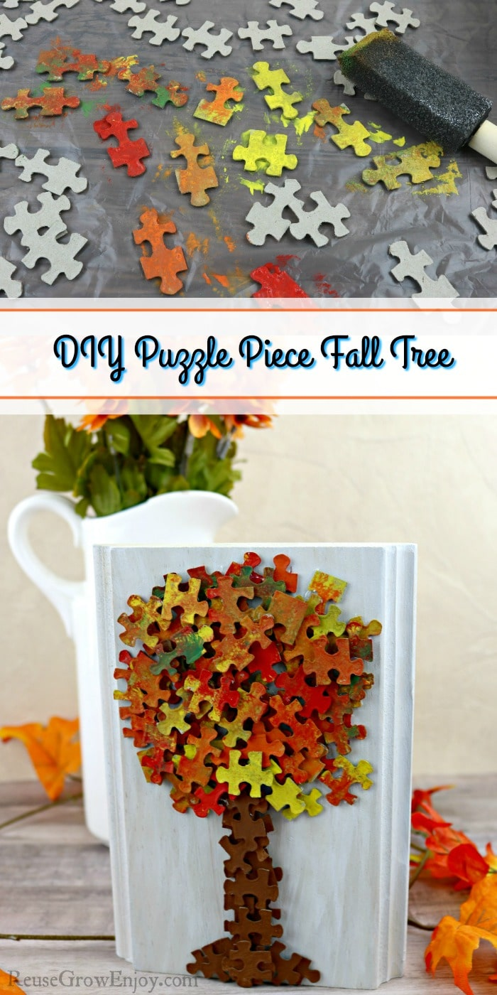 Painted puzzle pieces at top and finished puzzle piece fall tree decor at bottom with text overly in the middle.