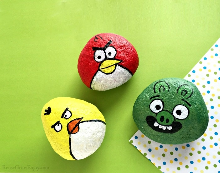 Three angry birds painted rocks