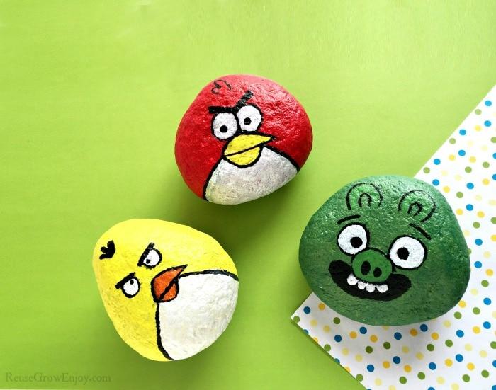 Three angry birds painted rocks