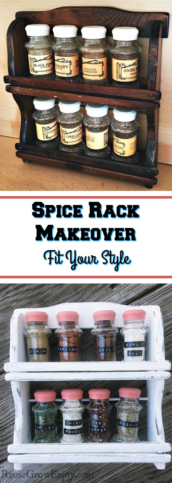 Check out this super easy DIY Spice Rack Makeover! Give that old spice rack a whole new look!