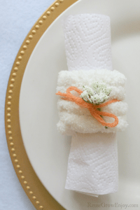 Finished country napkin rings on a plate.
