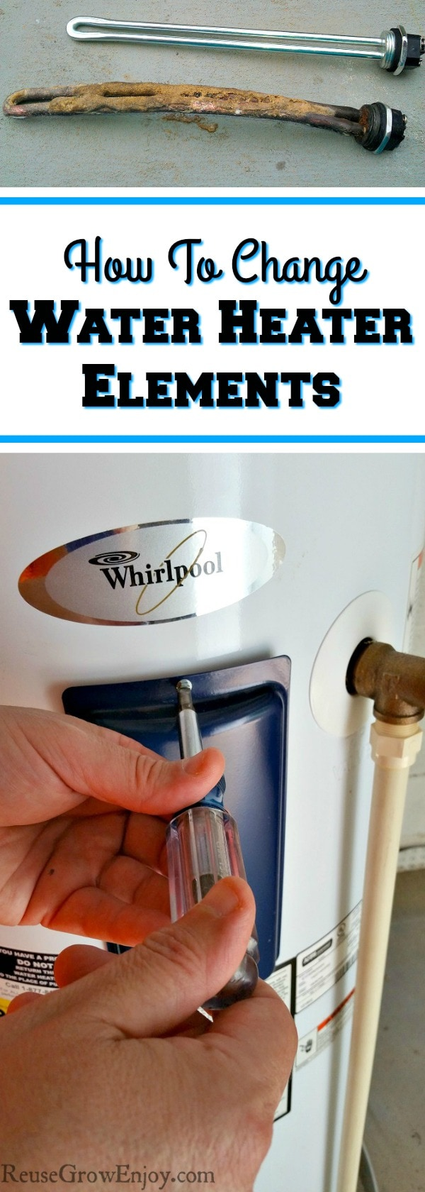 Is your hot water heater not working so well? I am going to share with you this DIY Water Heater Repair on how to change heating elements.
