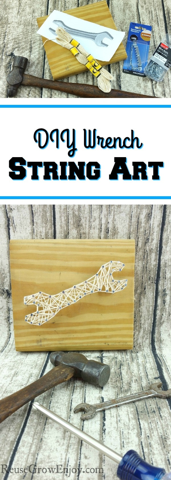 Looking for a craft project that could also be for men? Check out this DIY wrench string art!