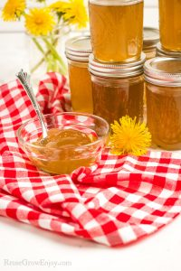 Jars of Dandelion Jelly stacked in background small glass dish of it on a red checkered cloth in the front