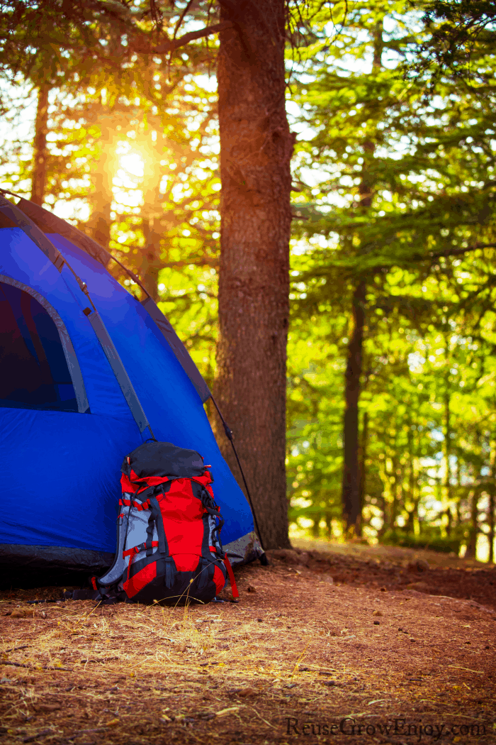 Blue tent in woods with red backpack