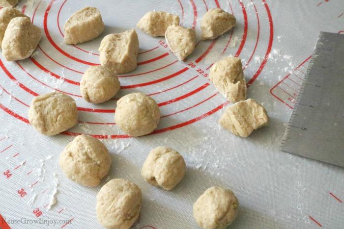 Dough cut into chunks