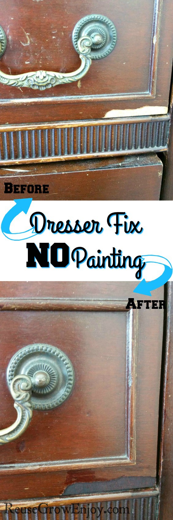 If you have scuffs on your dresser but do not want to paint it, check out this fix. It is a Dresser Fix - Cover Scratches Without Painting!