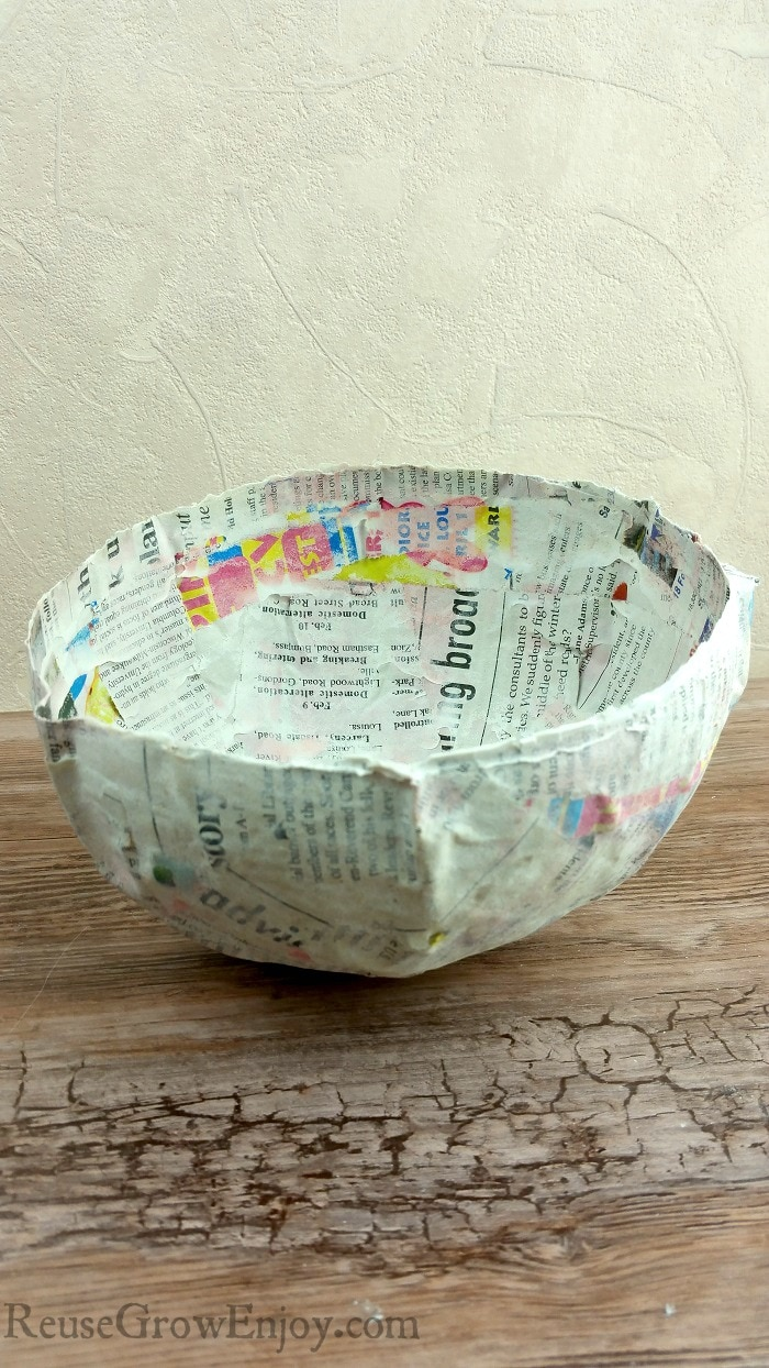 Dried paper mache bowl.