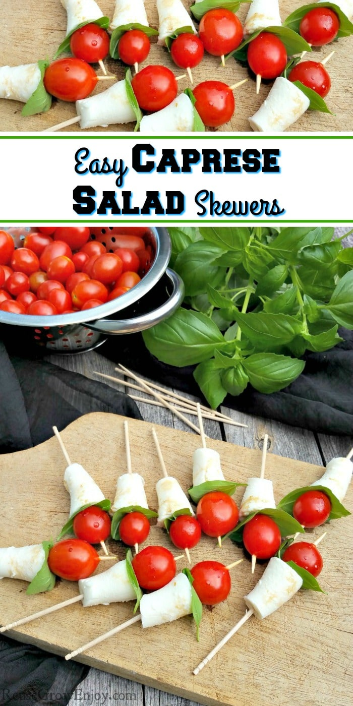 Friends or family on the way over and need a super easy, healthy and tasty appetizer? Whip up these super simple Caprese salad skewers! So delightful!