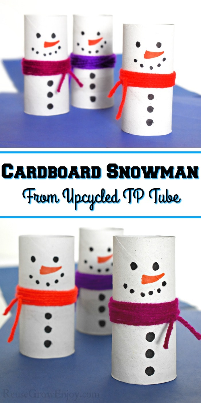 "3 finished snowmen at the top and the bottom with a text overlay in the middle that says ""Cardboard Snowman From Upcycled TP Tube"""
