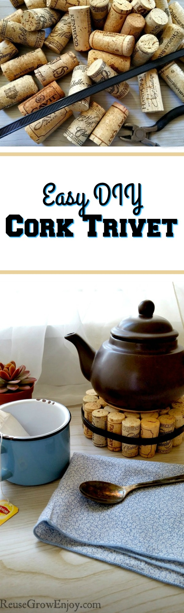 If you have a lot of corks on hand, this is a great way to reuse them. You can make this Easy DIY Cork Trivet! Now you can upcycle all those corks!