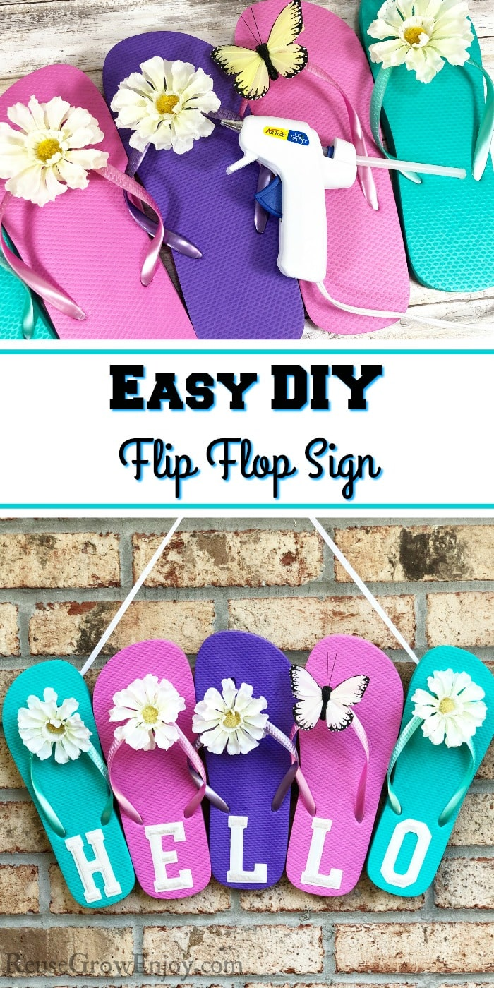 Flip flop sign being made at top and finished at the bottom. Text overlay in middle.